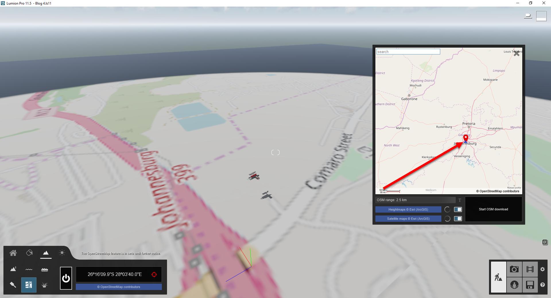 Lumion 11, Open Street Map, Chance Location