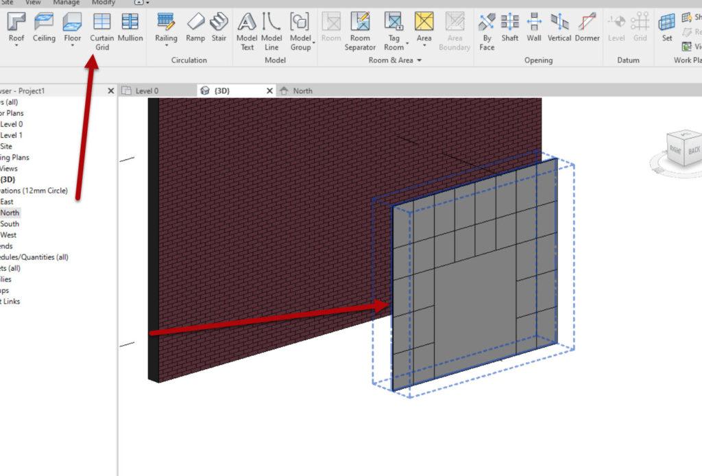How to create a Revit custom curtain wall 1 Add Grid