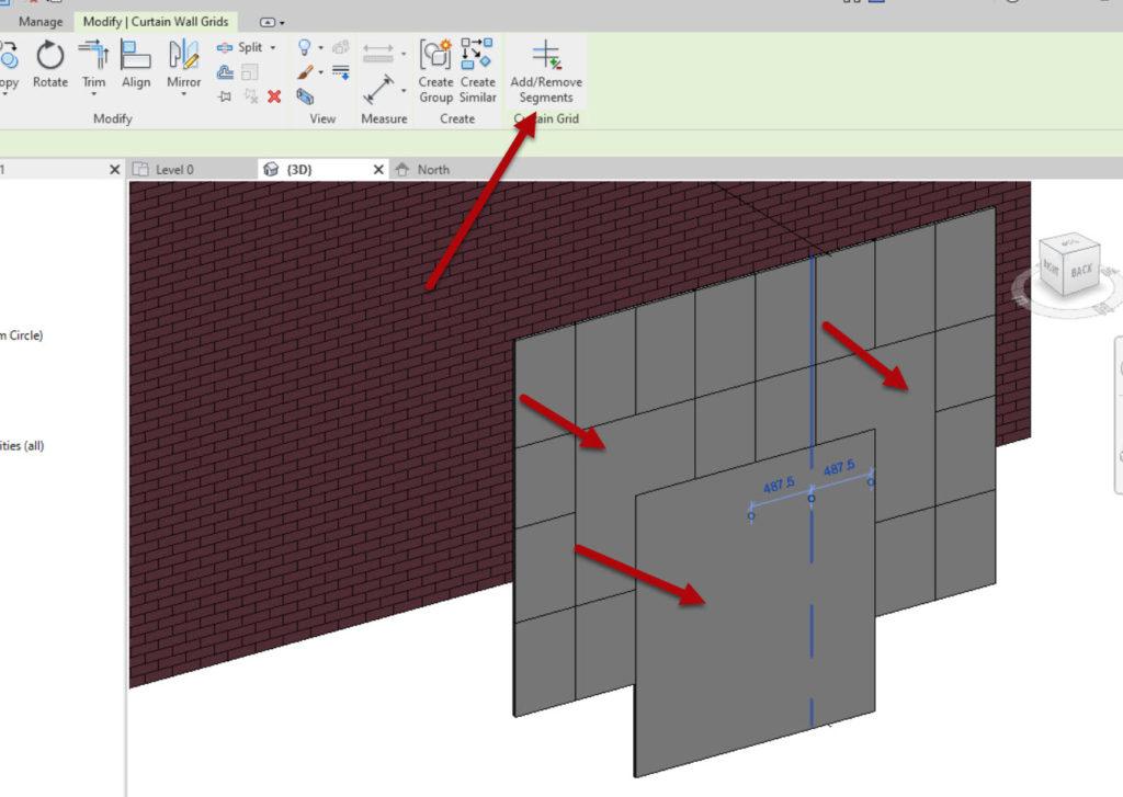 How to create a Revit custom curtain wall 3 Add remove segments