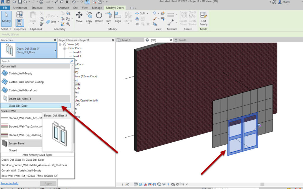 How to create a Revit custom curtain wall 5 Select panel and change type to door