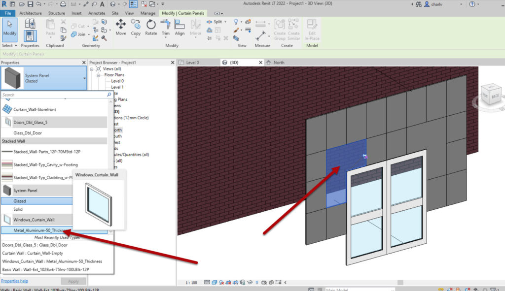 How to create a Revit custom curtain wall 7 Cannot add windows here as the require square openings