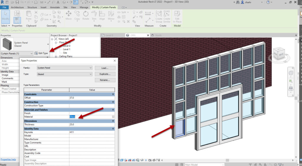 How to create a Revit custom curtain wall 8 Tab select panel and edit Type to add Glass as material
